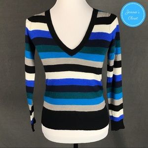The Limited Merino Wool Striped V-Neck Sweater